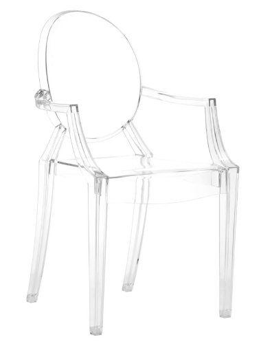 Designer Modern Louis XIV Arm Chair in Clear - Set of 2