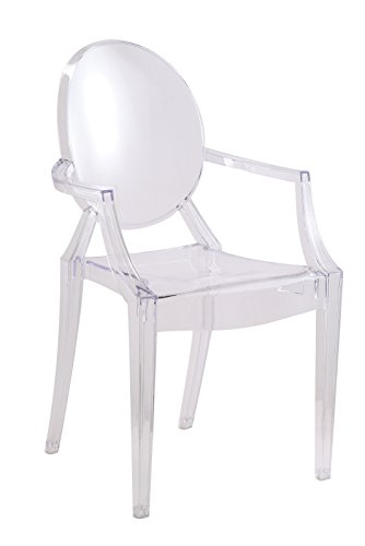 Fancierstudio Dining Chair Ghost Chair with Arms in Transparent Crystal Clear Set Of Two
