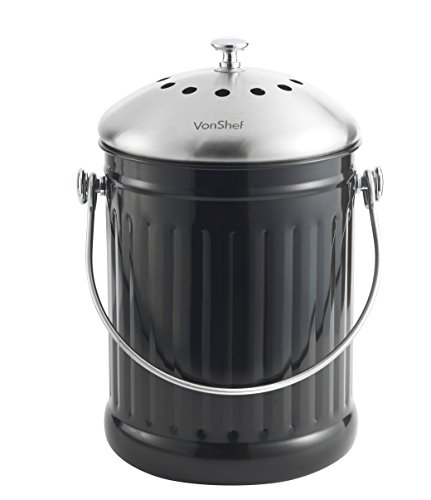 Countertop Vegetable Bin : Vonshef 1.2 Gallon Countertop Kitchen Compost Bin Stainless Steel & Fr