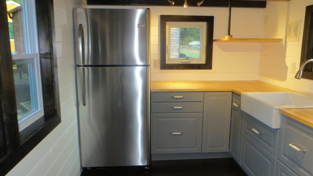 Refrigerator and Cabinets - 36° North by Brevard Tiny House