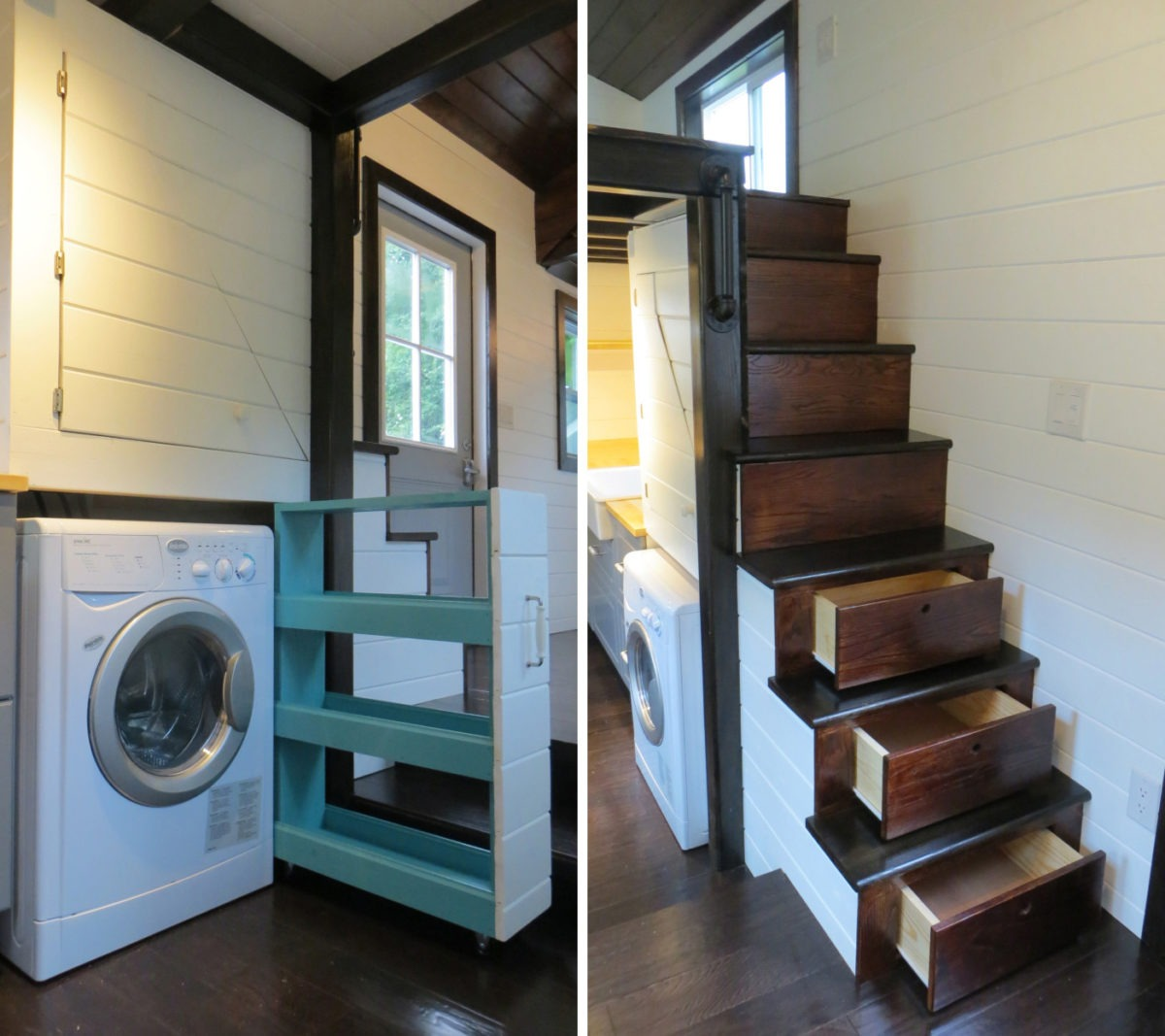 Pull-Out Storage and Storage Stairs - 36° North by Brevard Tiny House
