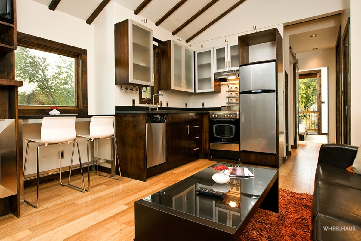 Interior View - Living Room and Kitchen - Caboose by Wheelhaus