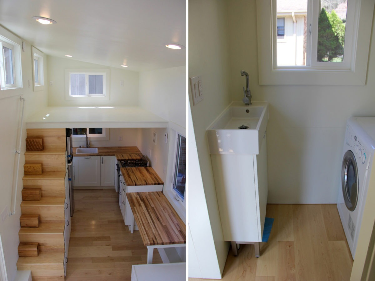 Interior Aerial View and Bathroom Sink - Chickadee by Brevard Tiny House