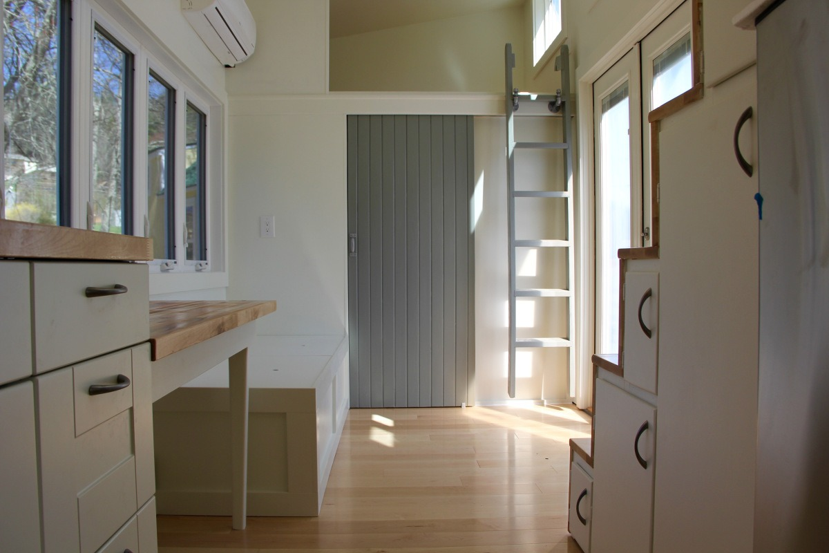 Living Room and Loft Ladder - Chickadee by Brevard Tiny House