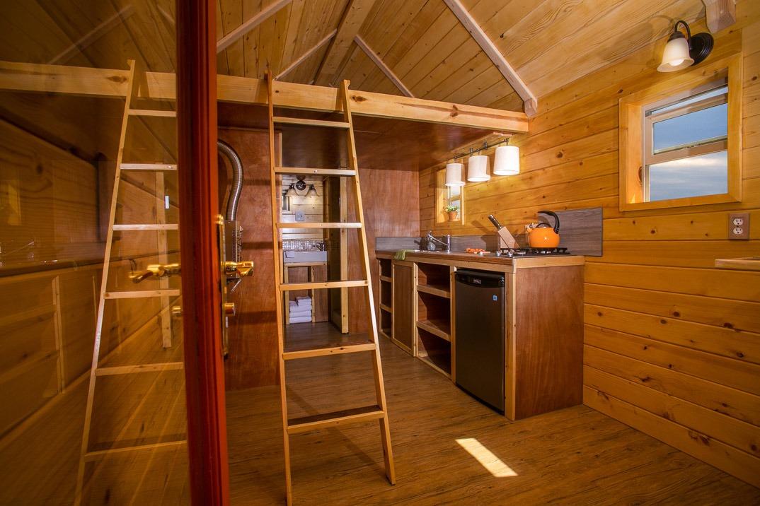 Interior - Loft Ladder and Kitchen - Monarch Tiny Home
