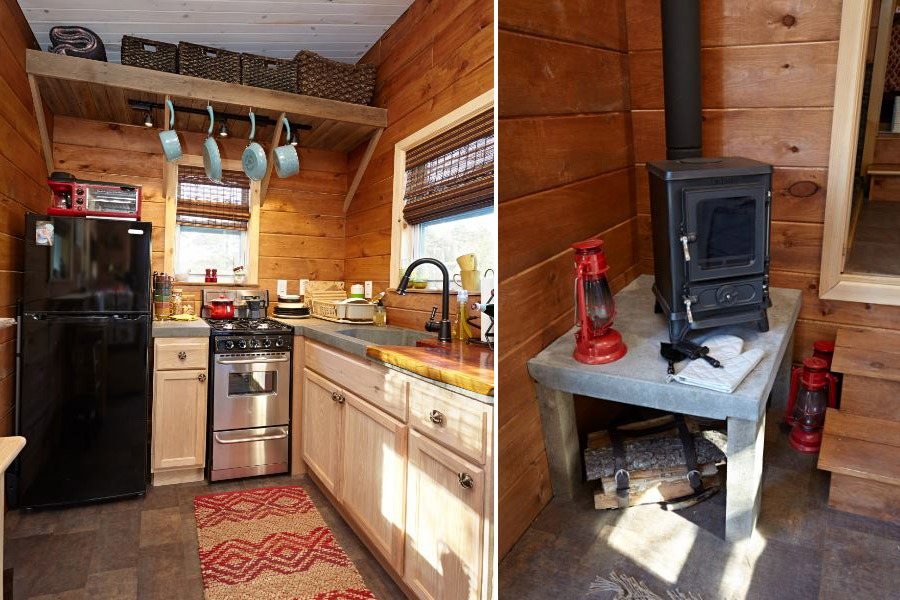 Kitchen and Fireplace - Nomad's Nest by Wind River Tiny Homes