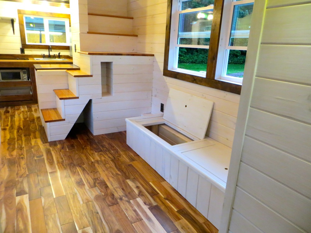 Built-In Storage Seating - Robin's Nest by Brevard Tiny House