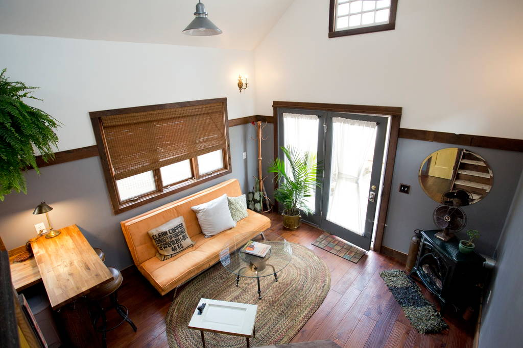 Living Room and Entryway - Rustic Modern Tiny House
