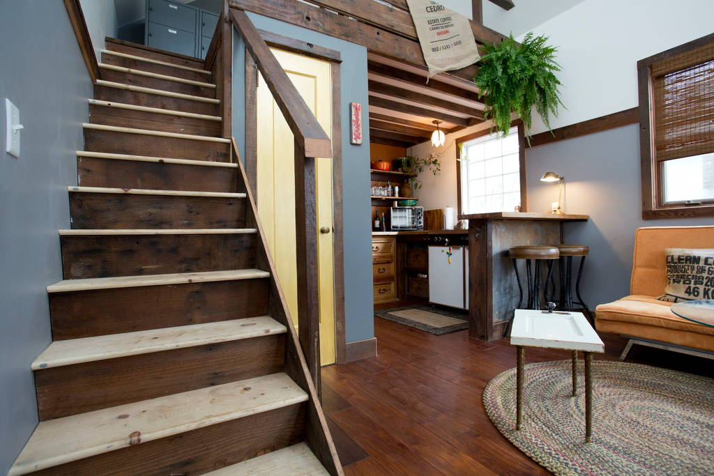 stairs to bedroom loft rustic modern tiny house - Tiny House Modern