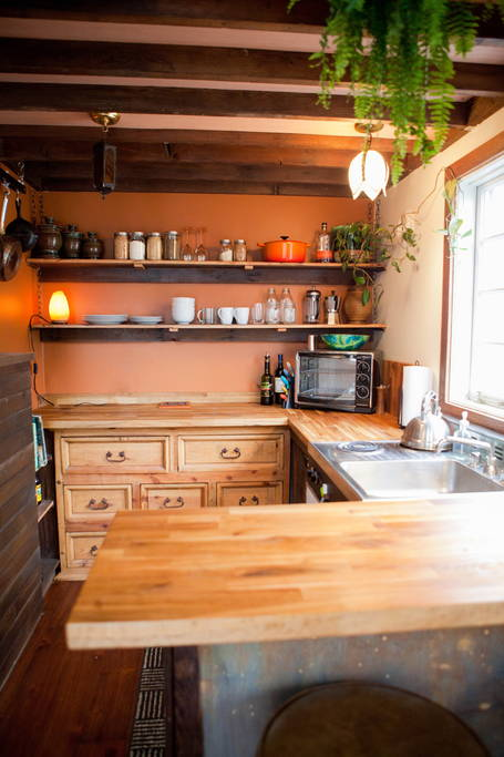 Kitchen Counters and Shelving - Rustic Modern Tiny House