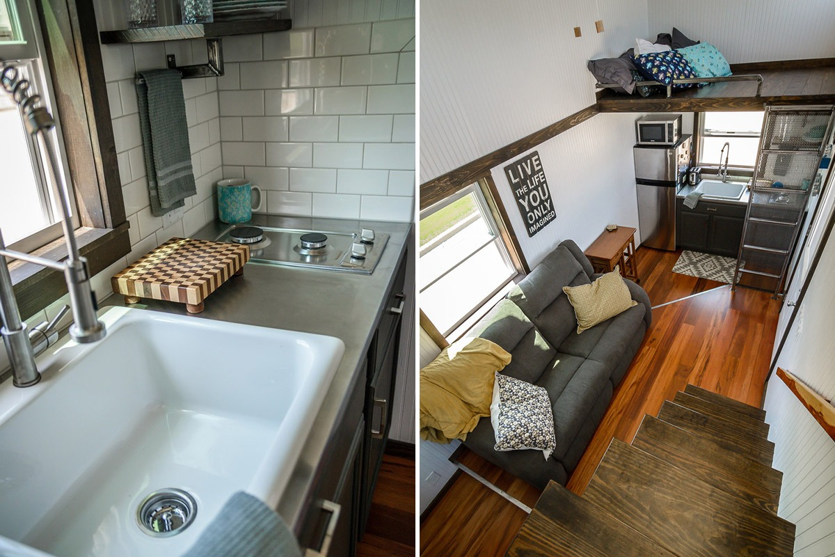 Kitchen Sink and Living Room - Triton by Wind River Tiny Homes