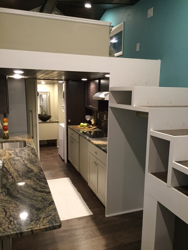 Storage Stairs and Kitchen - Westbury by Cornerstone Tiny Homes