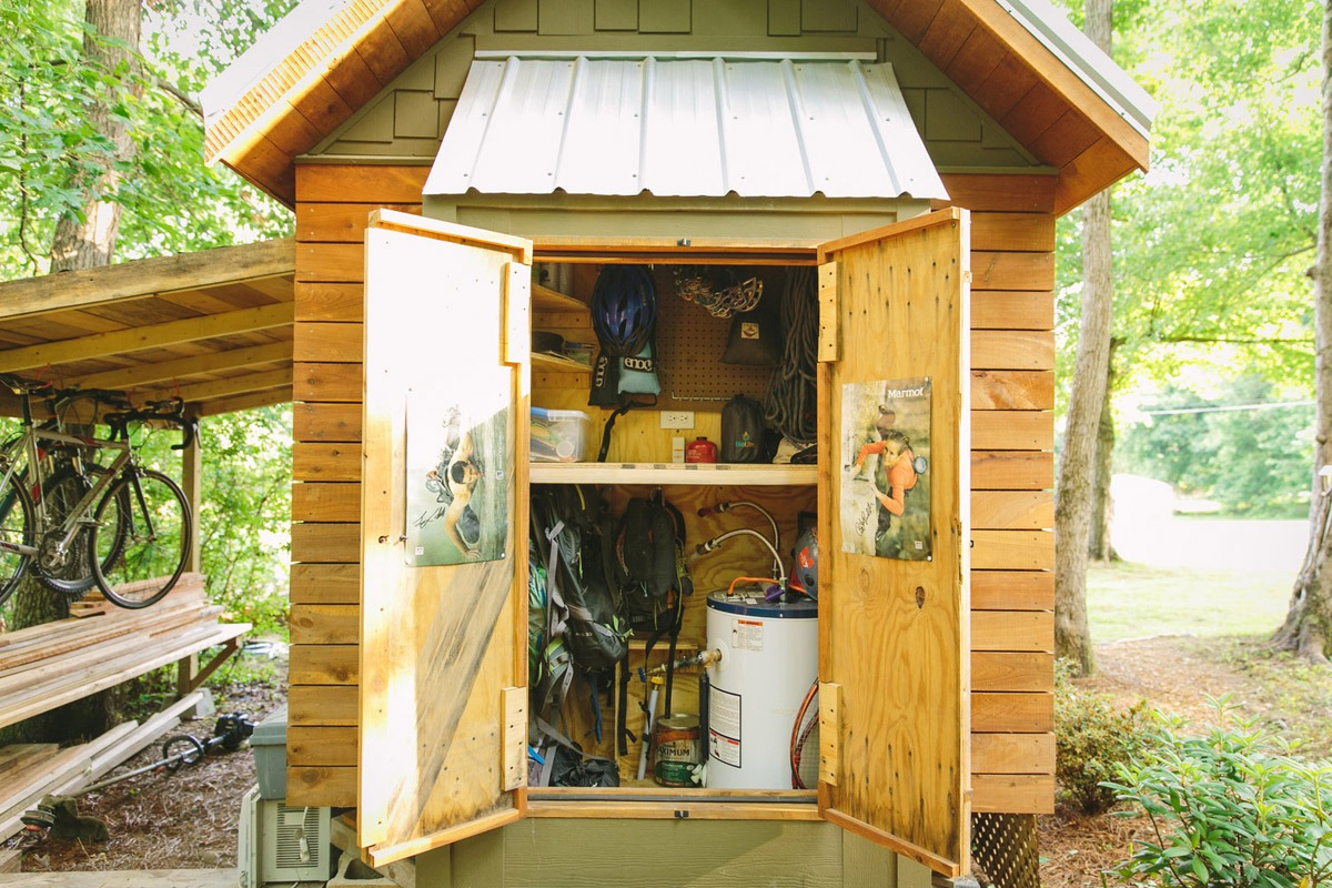 Exterior Storage w/ Water Heater - Wind River Bungalow