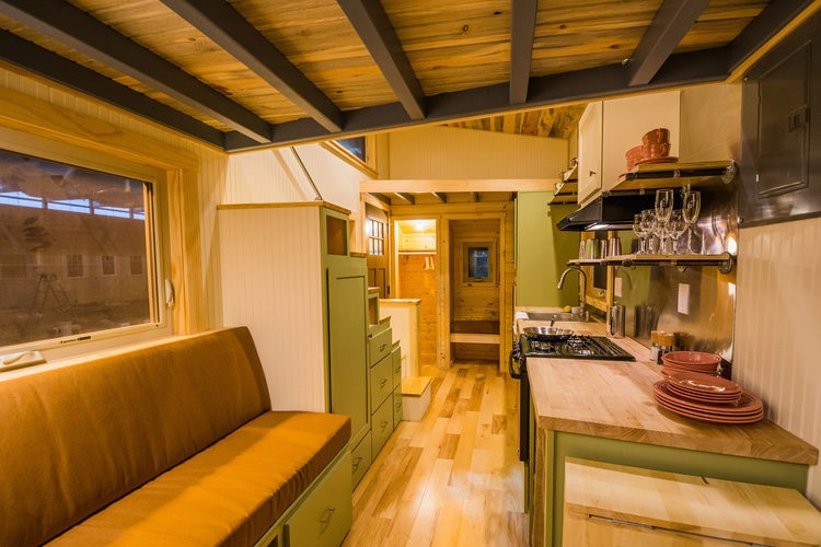 Kitchen and Living Room - Blue Moon by MitchCraft Tiny Homes