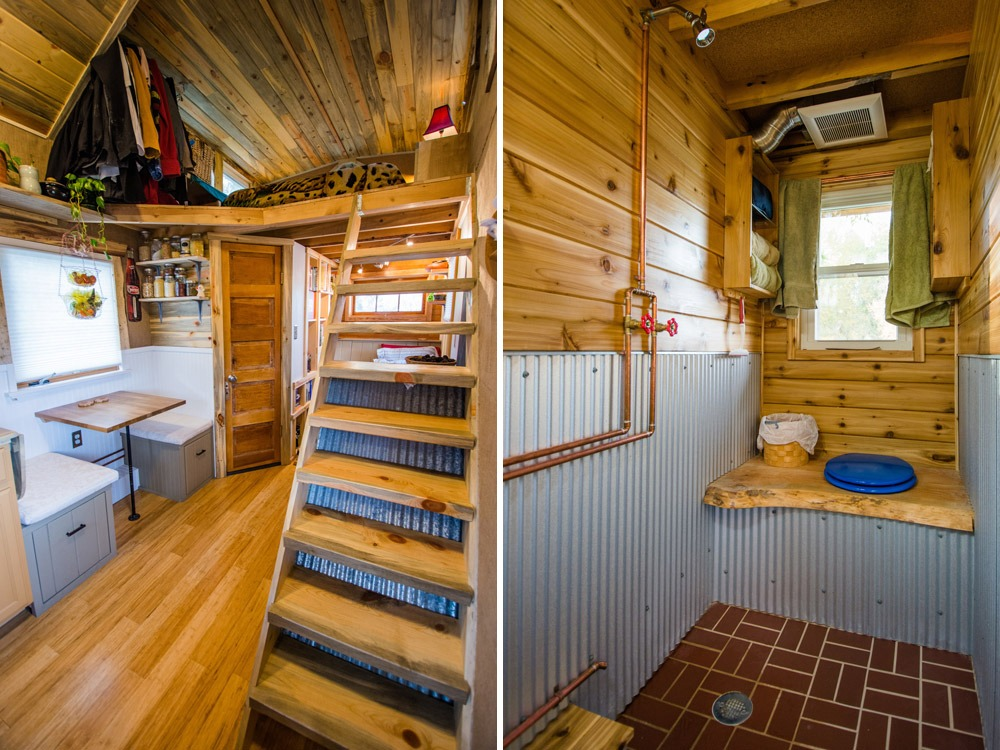 Loft Ladder and Bathroom - Bookworm by MitchCraft Tiny Homes
