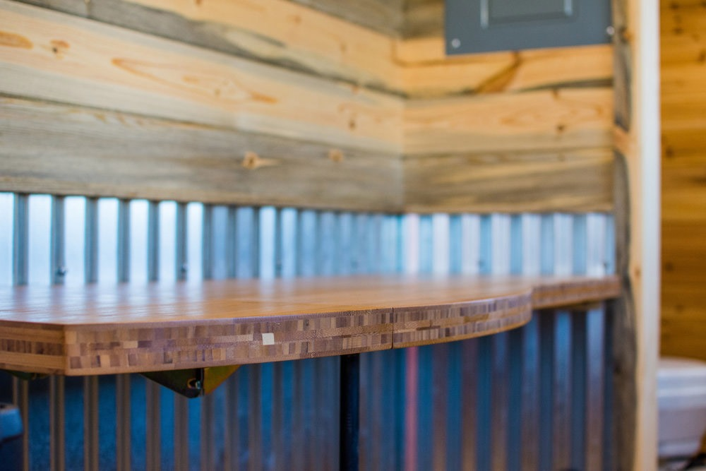 Bamboo Desk Detail - Dennis' Tiny House by Mitchcraft Tiny Homes