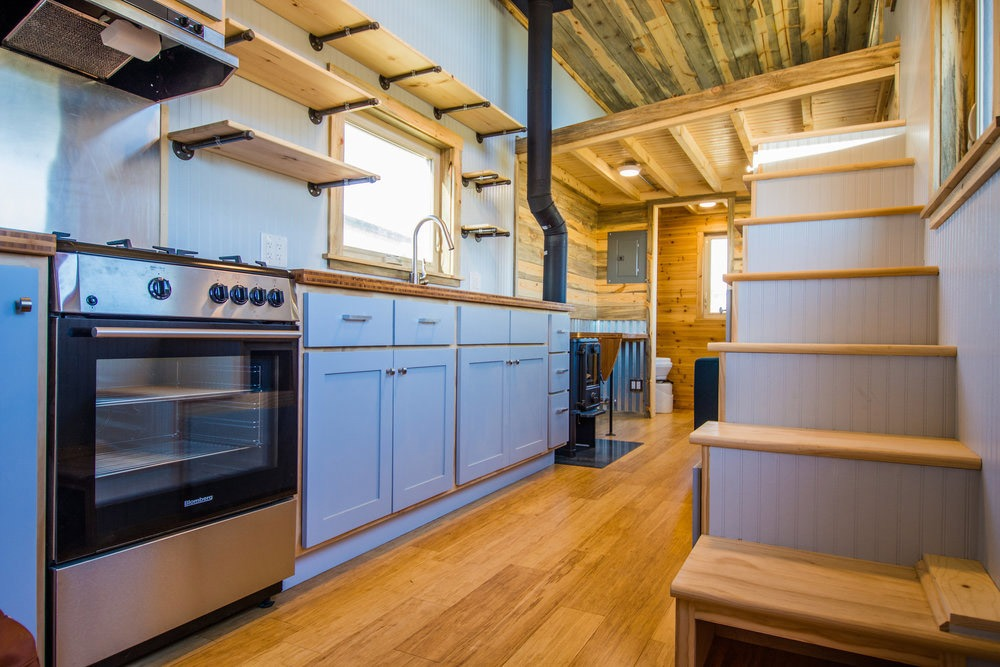 Kitchen and Stairs - Dennis' Tiny House by Mitchcraft Tiny Homes