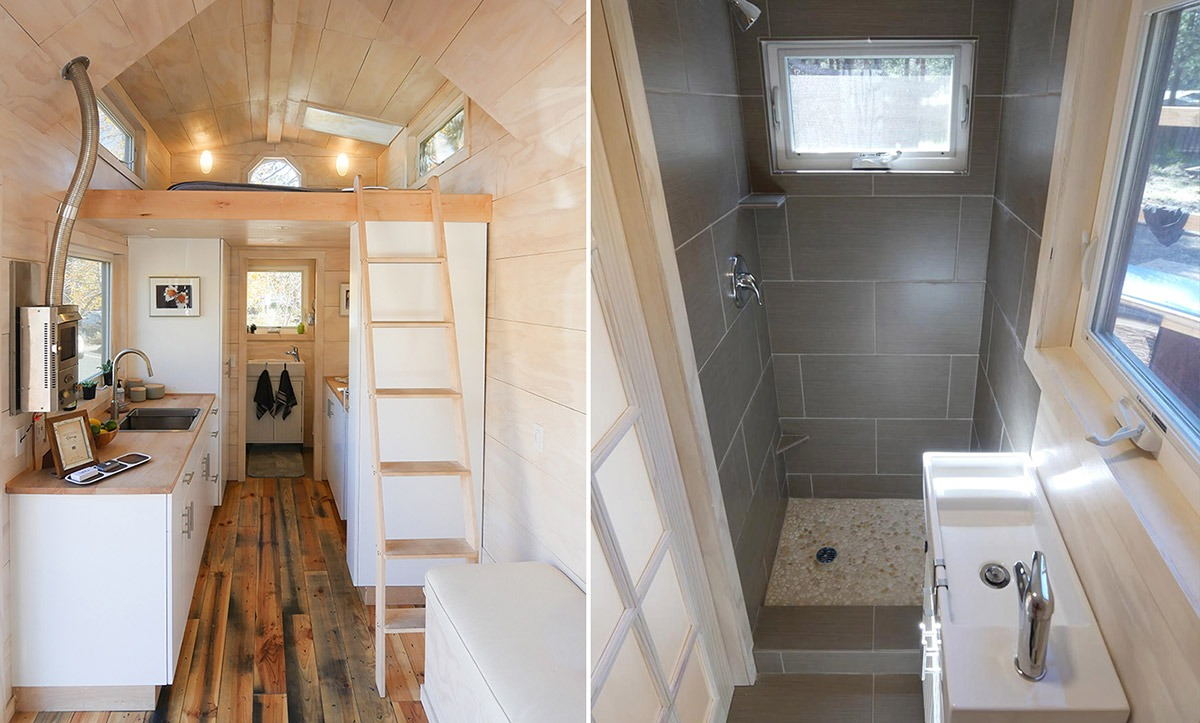 Loft Ladder and Shower Stall - Hiatus by Tongue & Groove Tiny Homes