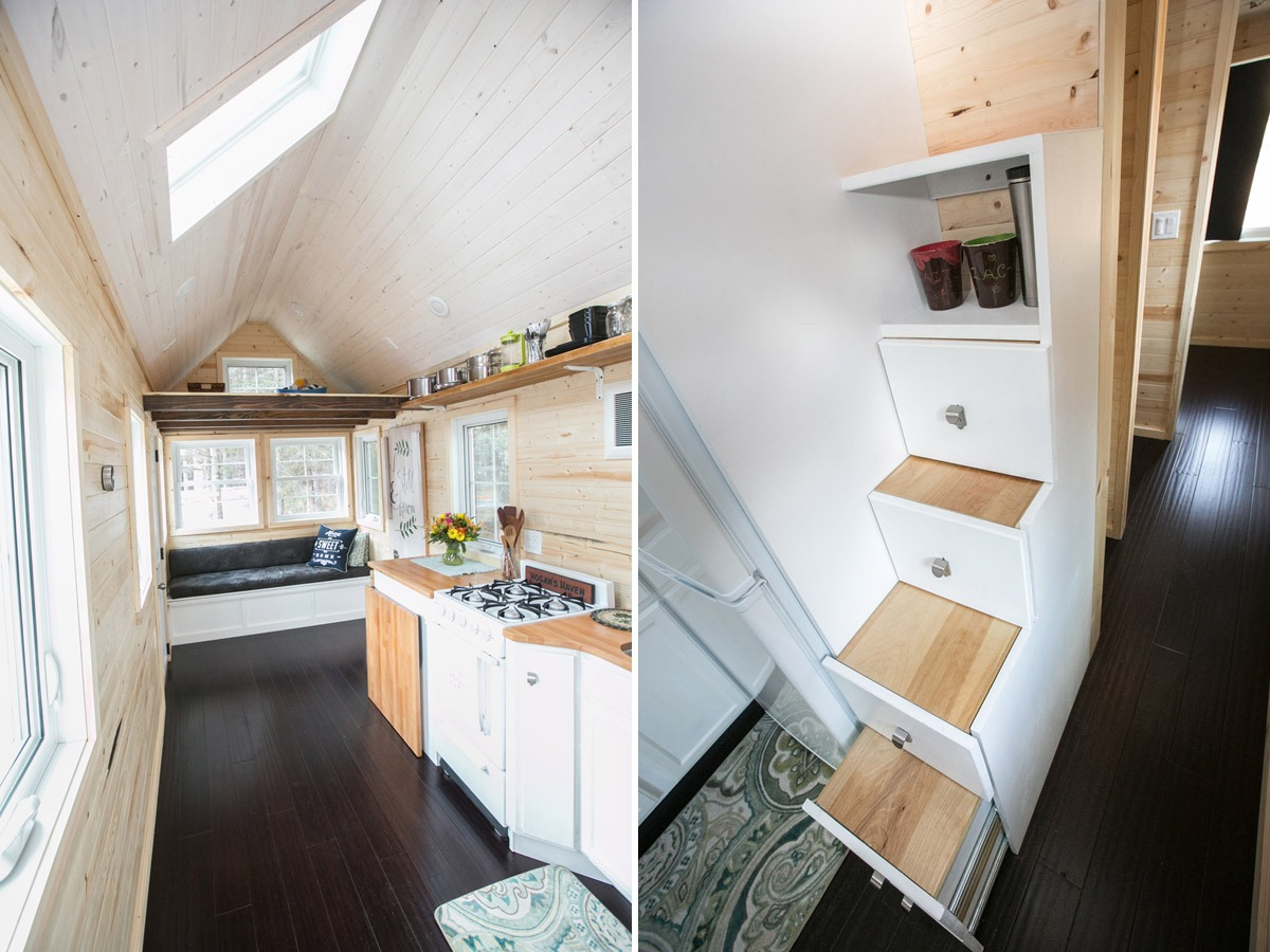 Kitchen and Storage Stairs - Hogan's Haven Tiny House