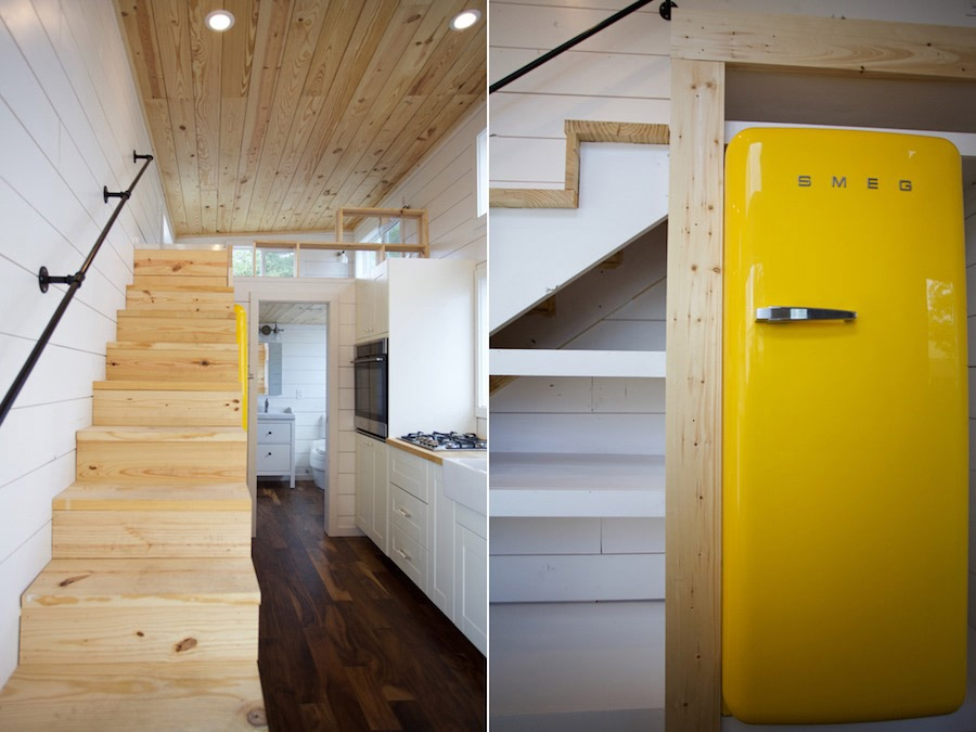 Stairs and Refrigerator - Custom Gooseneck by Nomad Tiny Homes