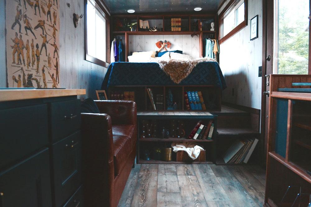 Bedroom over gooseneck with storage underneath - Aerodynamic by Tiny Heirloom