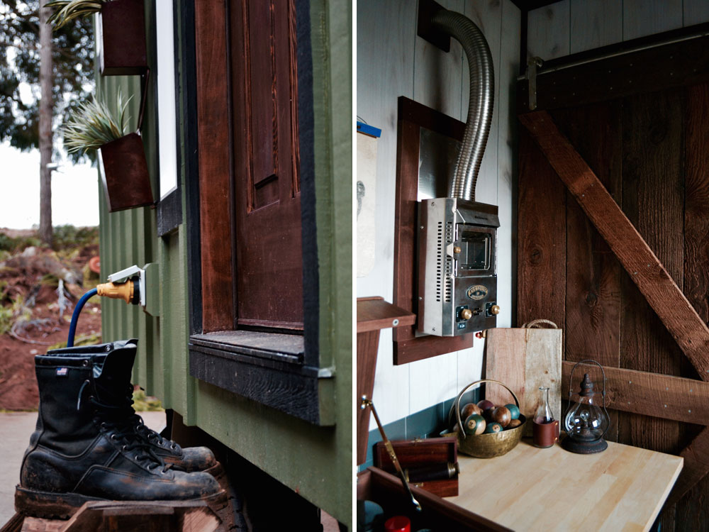 Solid wood front door and heater - Aerodynamic by Tiny Heirloom