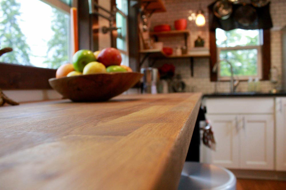 Butcher block counter with hidden TV - Craftsman by Tiny Heirloom