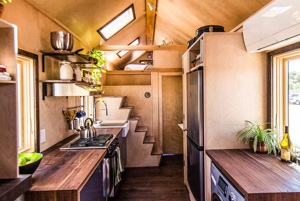 Modern interior with multiple materials - Farallon by Tumbleweed Tiny House Company