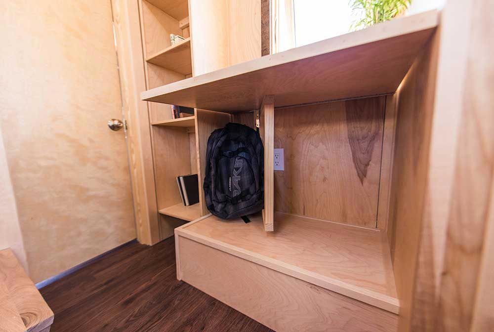 custom desk with hideaway farallon by tumbleweed tiny house company