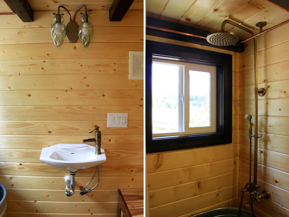 Bathroom sink and shower - Fort Austin by Brevard Tiny House