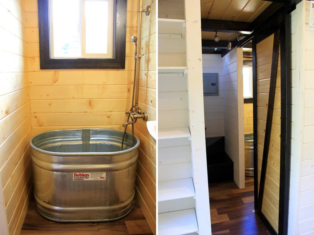 Bathroom tub and door - Fort Austin by Brevard Tiny House