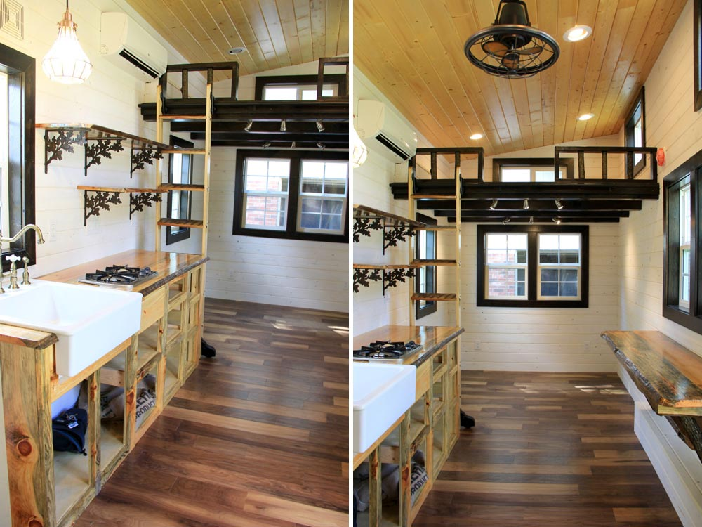 Kitchen area and view to the second loft - Fort Austin by Brevard Tiny House