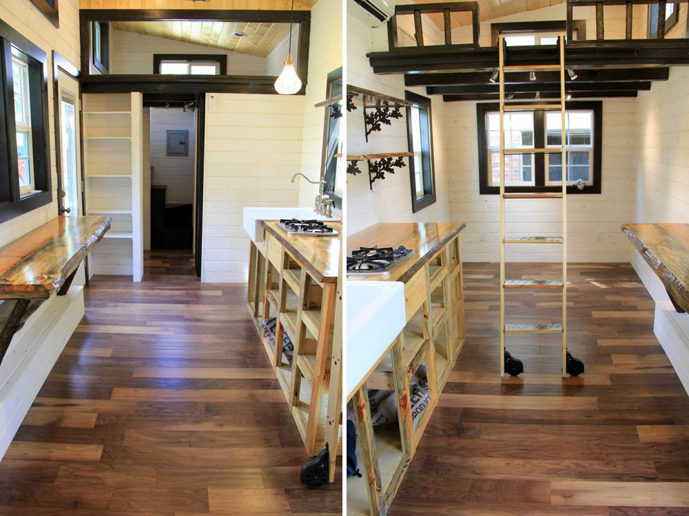 Kitchen area and loft view - Fort Austin by Brevard Tiny House
