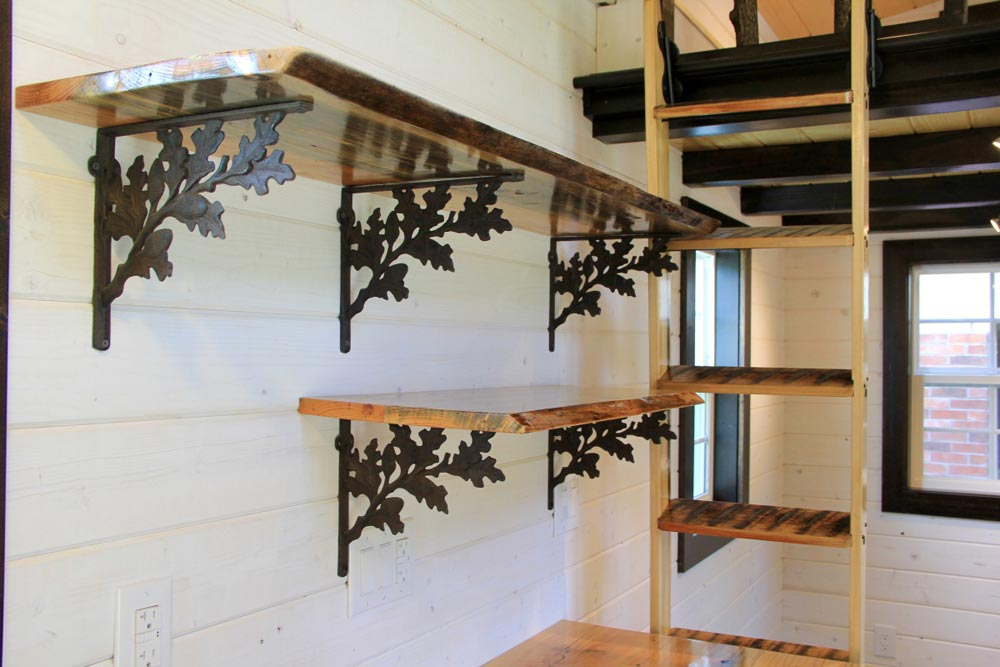 Open shelves with detailed brackets - Fort Austin by Brevard Tiny House