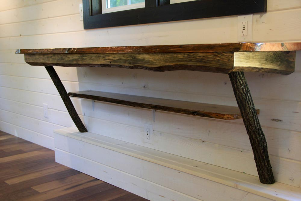 Pine table with natural edge - Fort Austin by Brevard Tiny House