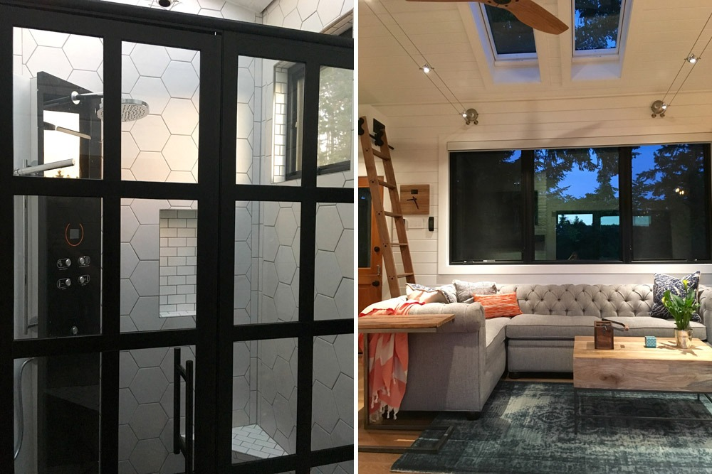 Shower & Living Room - Hawaii House by Tiny Heirloom