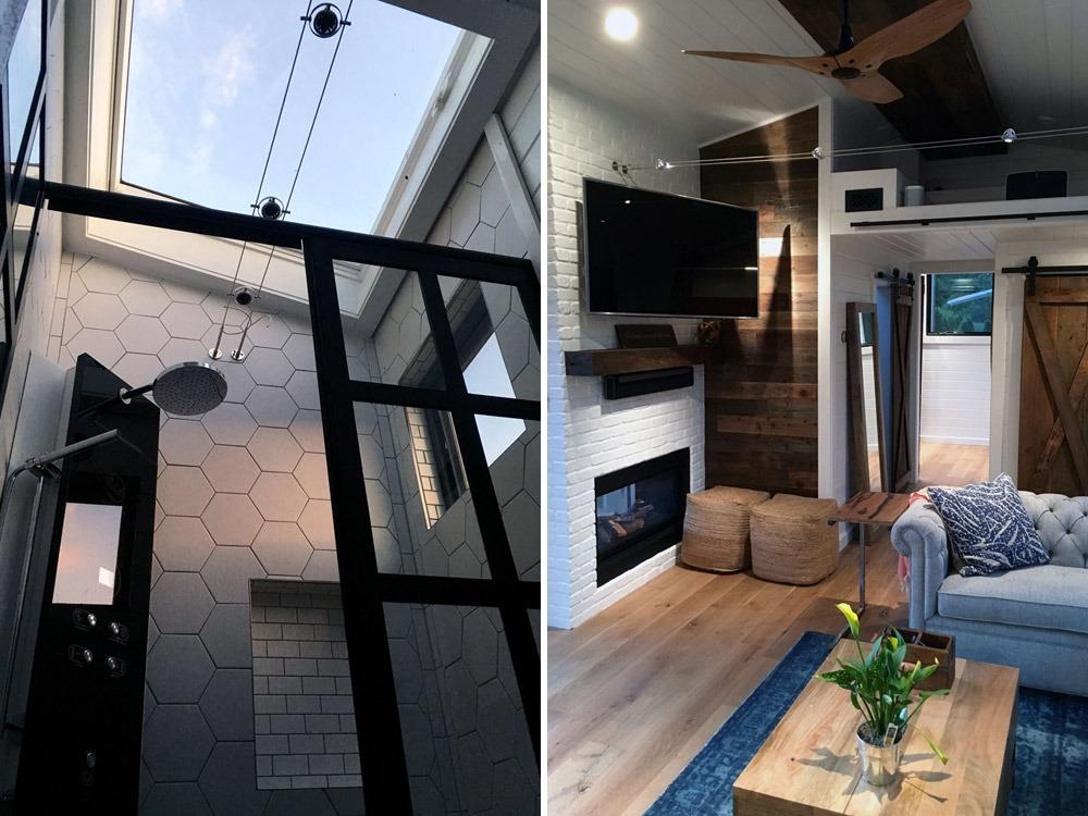 Shower Skylight & Living Room TV - Hawaii House by Tiny Heirloom