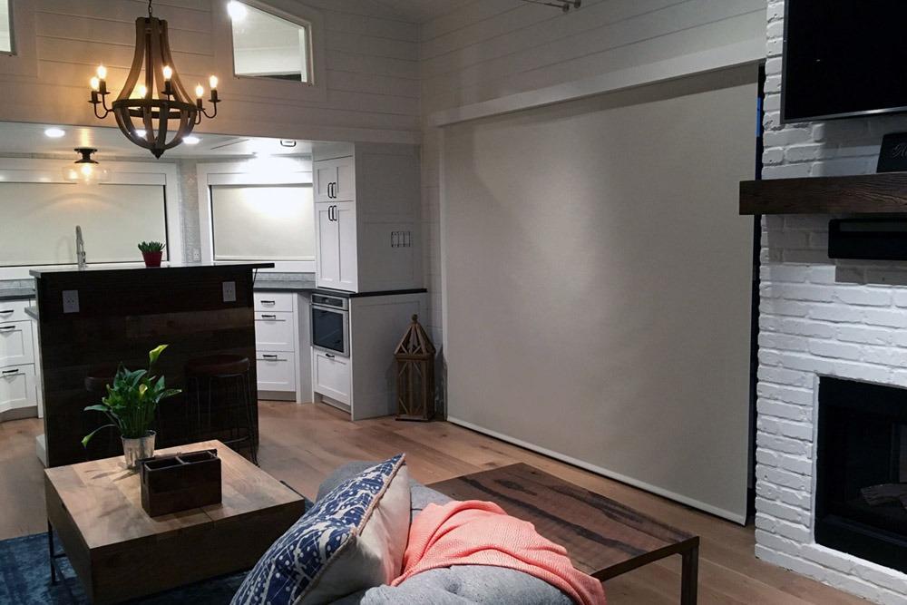 Living Room w/ Closed Shade - Hawaii House by Tiny Heirloom