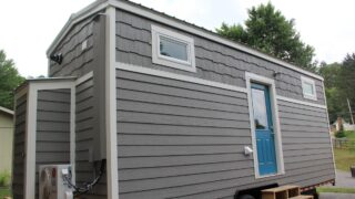 Grey exterior with white trim - Every Tiny Moment by Brevard Tiny House