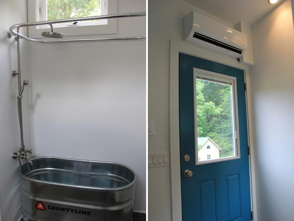 Shower and front door - Every Tiny Moment by Brevard Tiny House