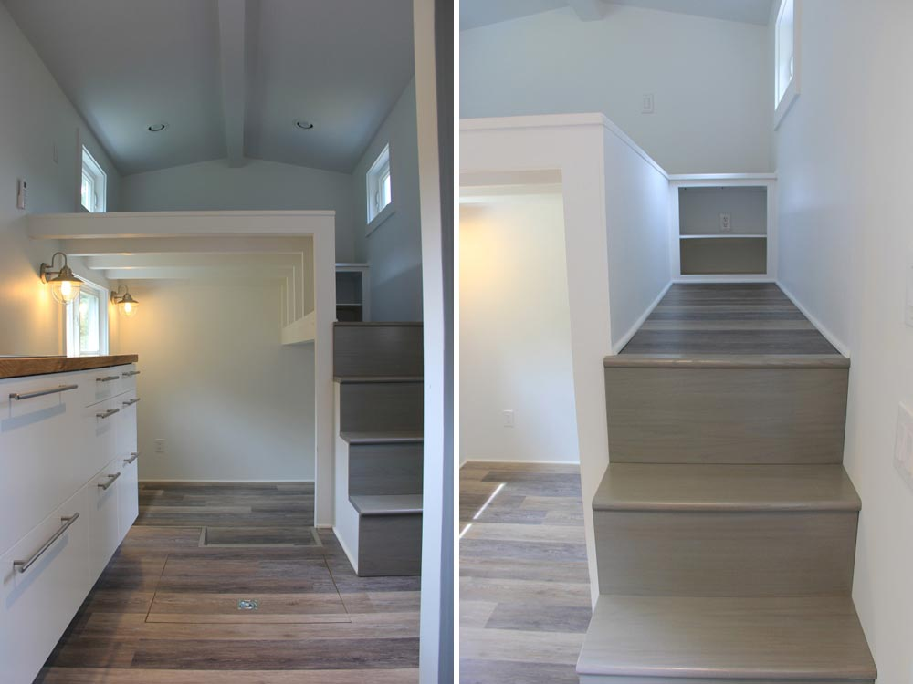Hardwood floors and stairs leading to bedroom - Every Tiny Moment by Brevard Tiny House