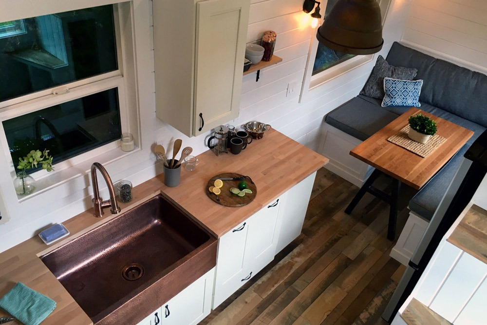 Tiny House Kitchen with Copper Sink and Hardwood Flooring - Rocky Mountain by Tiny Heirloom