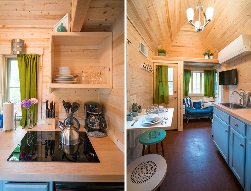 Cooktop and main living area - Zoe at Mt. Hood Tiny House Village