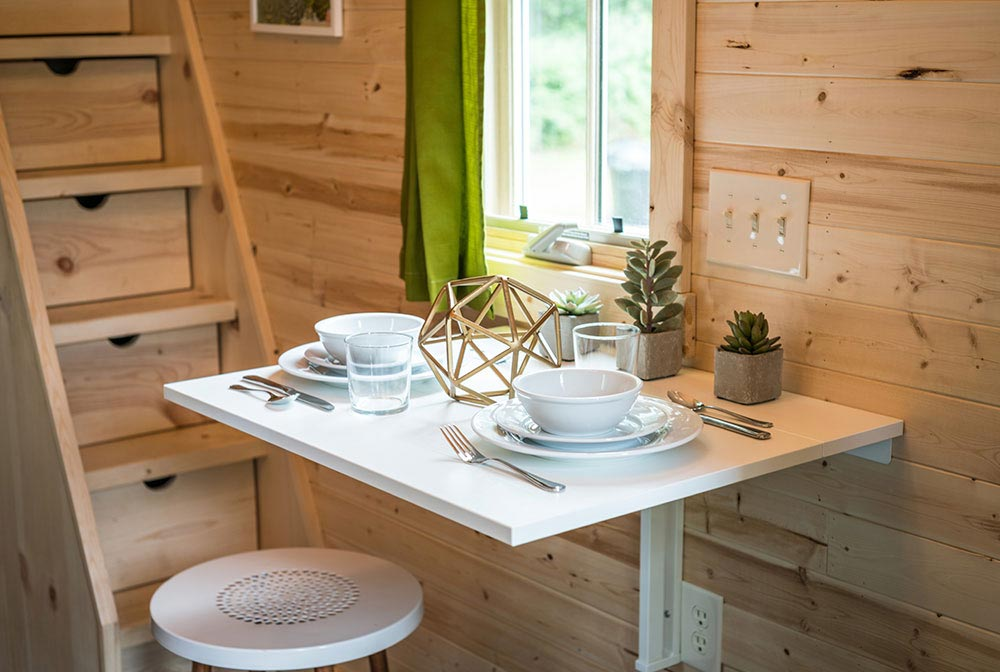 Dining table detail - Zoe at Mt. Hood Tiny House Village