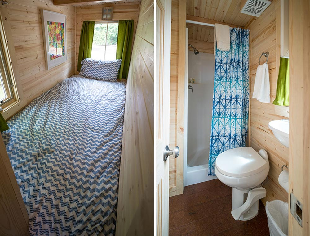 Single bed and bathroom - Zoe at Mt. Hood Tiny House Village