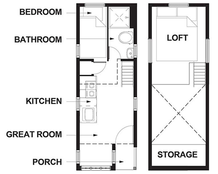 Floor Plan - Zoe at Mt. Hood Tiny House Village