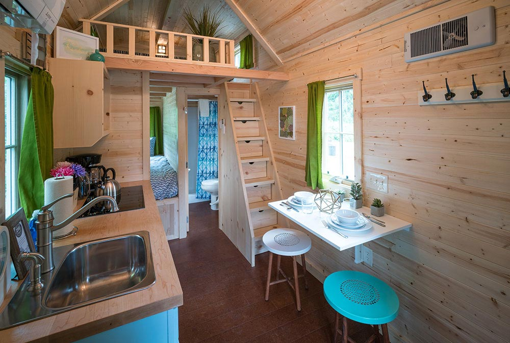 Storage stairs leading up to bedroom loft - Zoe at Mt. Hood Tiny House Village