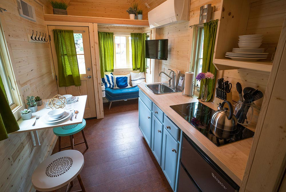Kitchen and living room - Zoe at Mt. Hood Tiny House Village