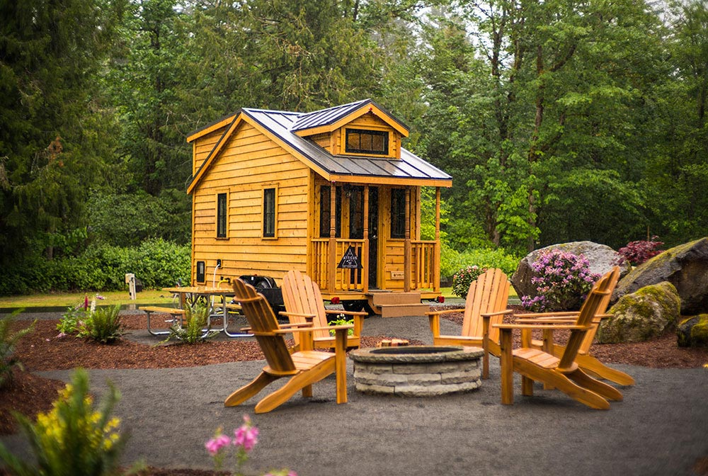 Cedar siding and metal roof - Atticus at Mt. Hood Tiny House Village
