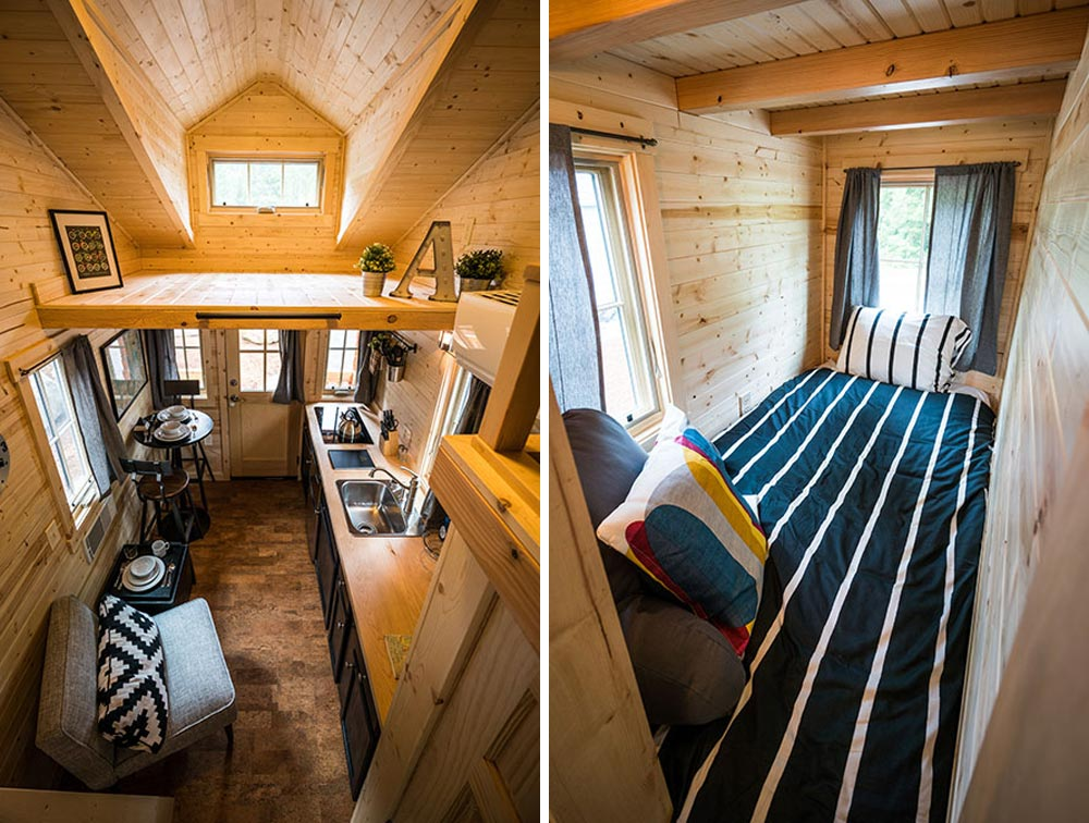 Aerial View and Single Bedroom - Atticus at Mt. Hood Tiny House Village